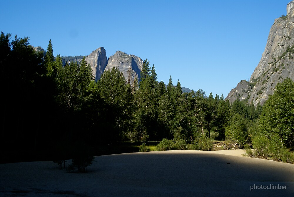 Yosemite valley river bed...dry but still green by photoclimber