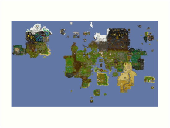 Old Runescape World Map.Oldschool Runescape World Map Art Prints By Ragsmaroon Redbubble