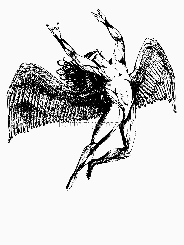 ICARUS THROWS THE HORNS - black ***FAV ICARUS GONE? SEE BELOW*** by butterflyscream