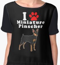 I Love My Miniature Pinscher in the Year of the Dog Adopt & Rescue Dog Lover Mom or Dad Save Abandoned Pet Chiffon Top