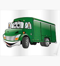 Green  Beverage Truck Cartoon Poster