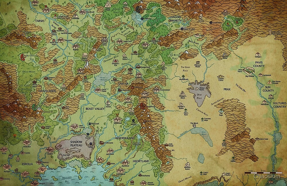 Dragon Pass and Prax Map by Darya Makarava by Chaosium