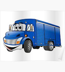 Blue  Beverage Truck Cartoon Poster