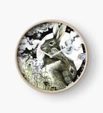 Hares in the Hedgerows Clock