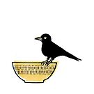 Blackbird on a bowl by jaqueline  storm