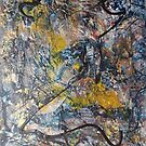 Golden Exclamation of Admiration, original Abstract painting  by Dmitri Matkovsky