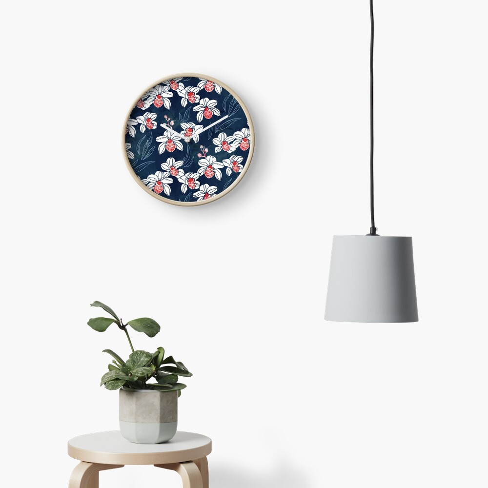 Orchid garden in white and peach on navy blue Clock