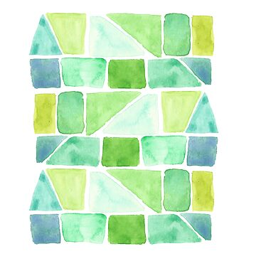 Blue Green Abstract Watercolor Pattern by heartlocked