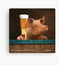 Lienzo Will Bullas / impresión de arte / cerveza ... porque no puedes beber tocino ... / humor / animales