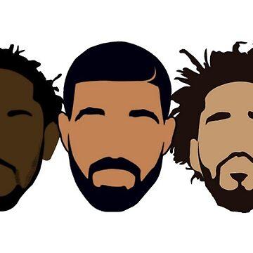 Drake, J Cole, Kendrick Lamar Hoodie by samgendelman