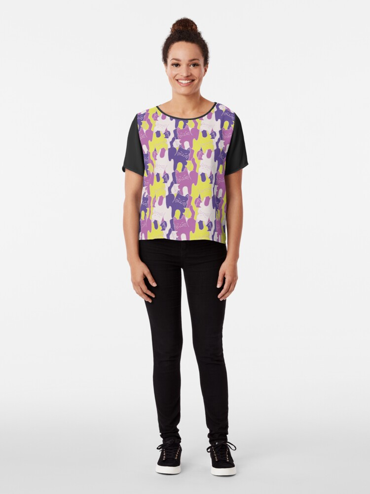 Alternate view of You're Purr-fect! In violet Chiffon Top