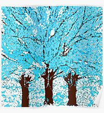 Abstract Trees are Blue White and Brown Poster