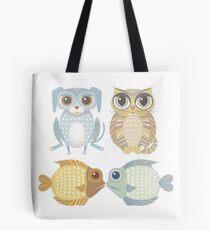 Lanky Dog, Big-Eyed Cat & 2 Fish Tote Bag