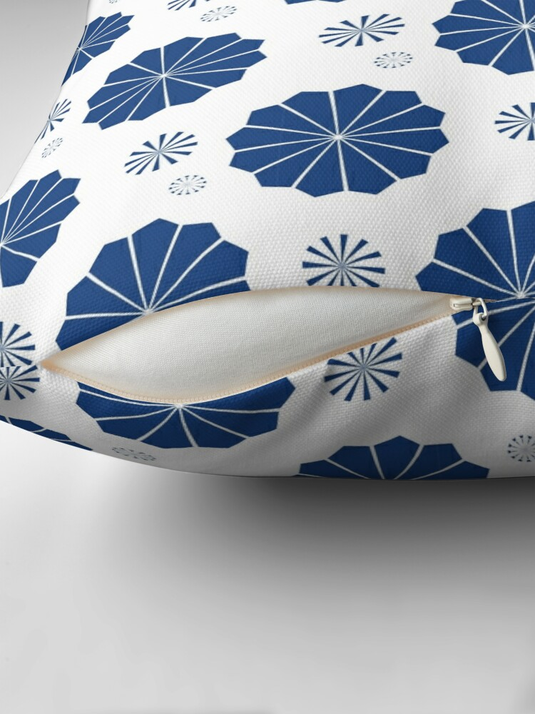 Alternate view of Blue and White Flowers Throw Pillow