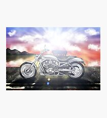 Motorcycle Sunset Photographic Print