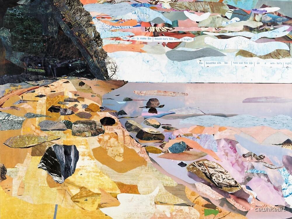 Rocky Beach Collage Art by cewhiteart