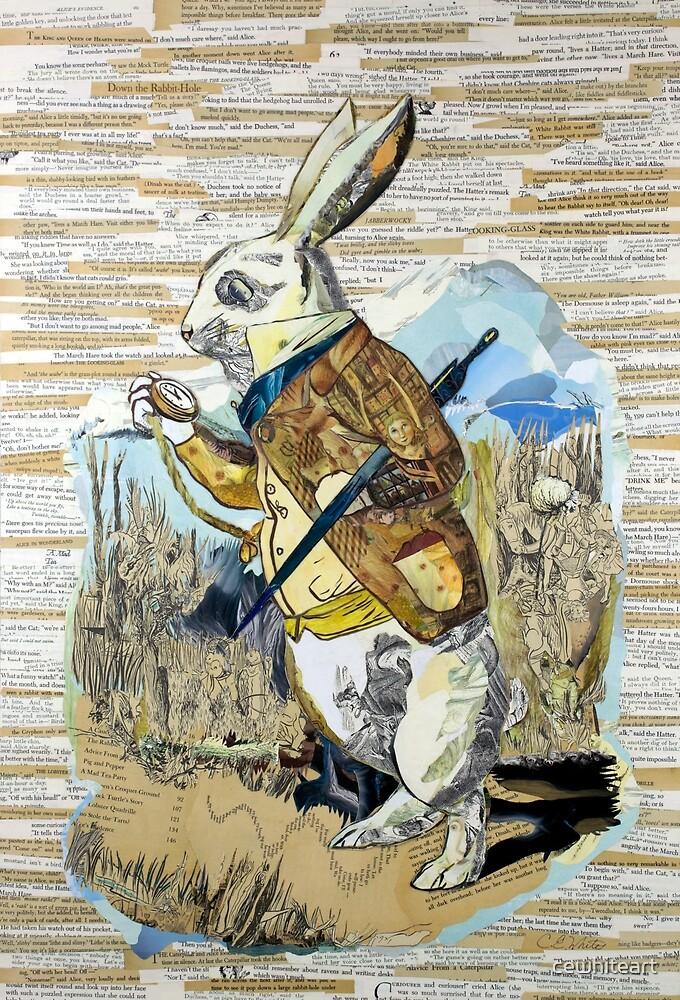 White Rabbit Alice in Wonderland Collage Art by cewhiteart