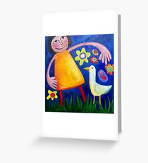 MONA ( lisa ) AND THE LOVEBIRD DANCING IN THE FLOWERBED Greeting Card