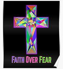 Faith Over Fear Colorful Easter Christian Cross Poster