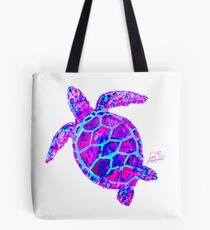 Sea Turtle Pink and Blue Tote Bag