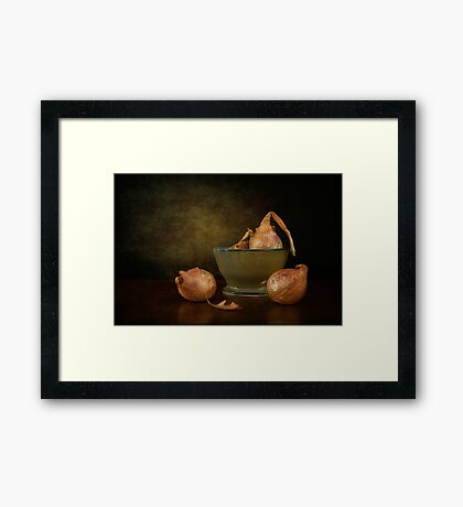 Shallots In A Pottery Bowl Framed Print
