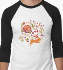 Tortoise and the Hare in Red Men's Baseball ¾ T-Shirt