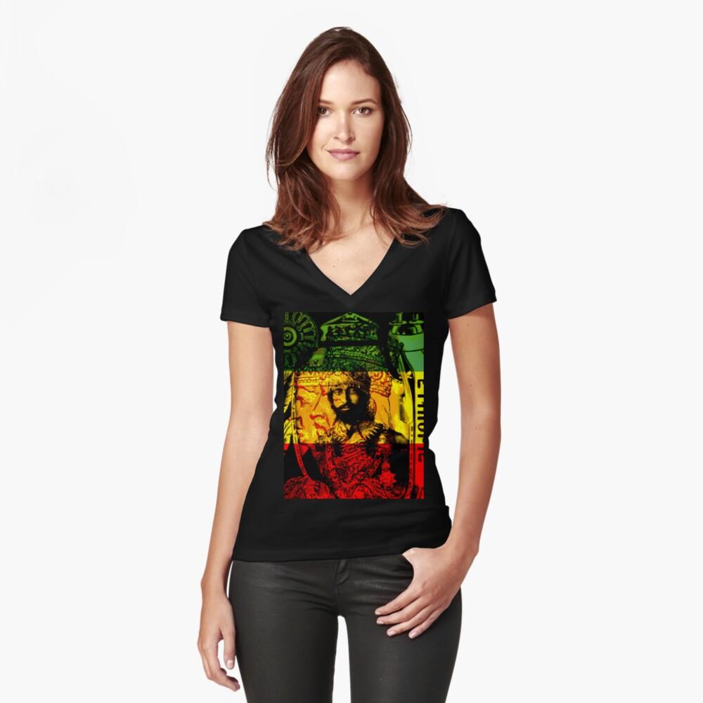 Rasta Haile Selassie Natural Mystic Lion of Judah Fitted V-Neck T-Shirt