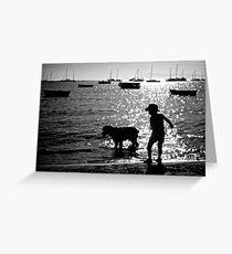 Spud, Senae, Sand, Sun, Sea silhouette 2 Greeting Card