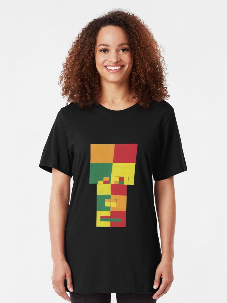 Alternate view of Square Fro (Facemadics abstract face colorful contemporary) Slim Fit T-Shirt