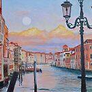 Moonrise over the Grand Canal in Venezia, Italia by Dai Wynn