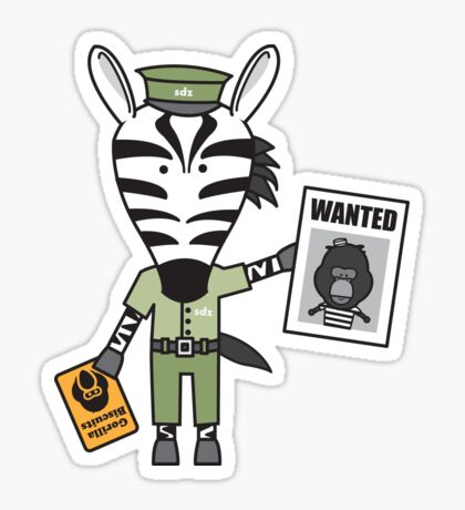 Zeke the Zoo Keeper Zebra Sticker