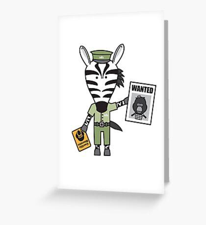 Zeke the Zoo Keeper Zebra Greeting Card