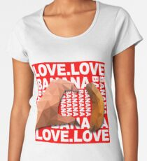 Heart Shape Hand with Banana Food Fruit Geometry Polygon on Red Background 3d Vector Illustration Women's Premium T-Shirt