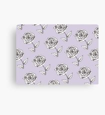 Black and White Rose Flower  Nature Garden Plant on Violet Background. Drawing, Romantic, Vintage, Retro, Natural, Background, Illustration Canvas Print