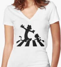 walking on abbey road Women's Fitted V-Neck T-Shirt