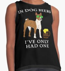 Basenji I've Only Had One In Dog Beers Year of the Dog Irish St Patrick Day Contrast Tank