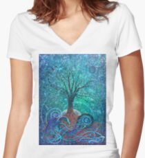 Tree of Life, Dark Moon. Women's Fitted V-Neck T-Shirt