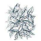 Autumn birds  - Bird illustration and Pattern by Linn Warme