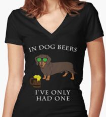 Dachshund Ive Only Had One In Dog Beers Year of the Dog Irish St Patrick Day Women's Fitted V-Neck T-Shirt