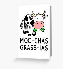 Tarjeta de felicitación Moo-chas Grass-ias (Muchas Gracias)