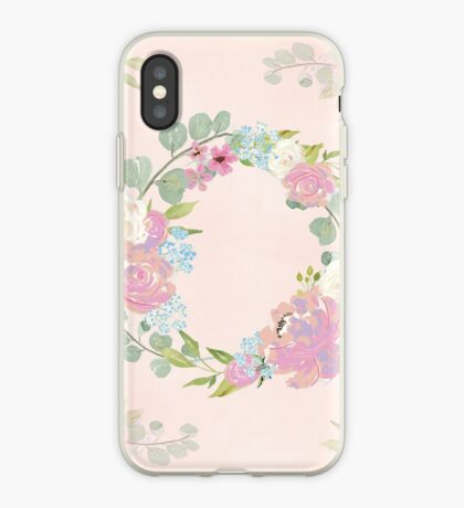 Pink Floral Wreath iPhone Case