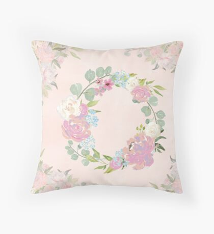 Pink Floral Wreath Throw Pillow
