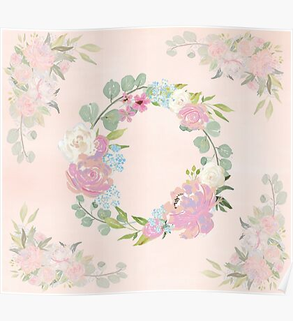 Pink Floral Wreath Poster