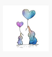 Colorful Watercolor Elephants Love Photographic Print