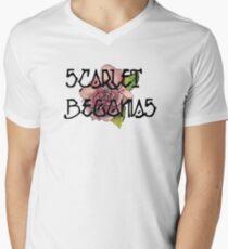 Scarlet Begonias Watercolor Men's V-Neck T-Shirt