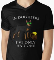 Miniature Pinscher Ive Only Had One In Dog Beers Year of the Dog Irish St Patrick Day Men's V-Neck T-Shirt