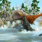 Anasazisaurus, Bistahieversor, Deinosuchus & Muzquizopteryx by A V S TURNER