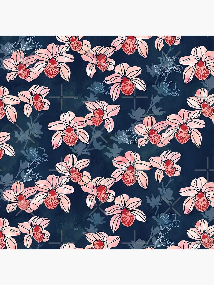 Orchid garden in peach on navy blue by adenaJ