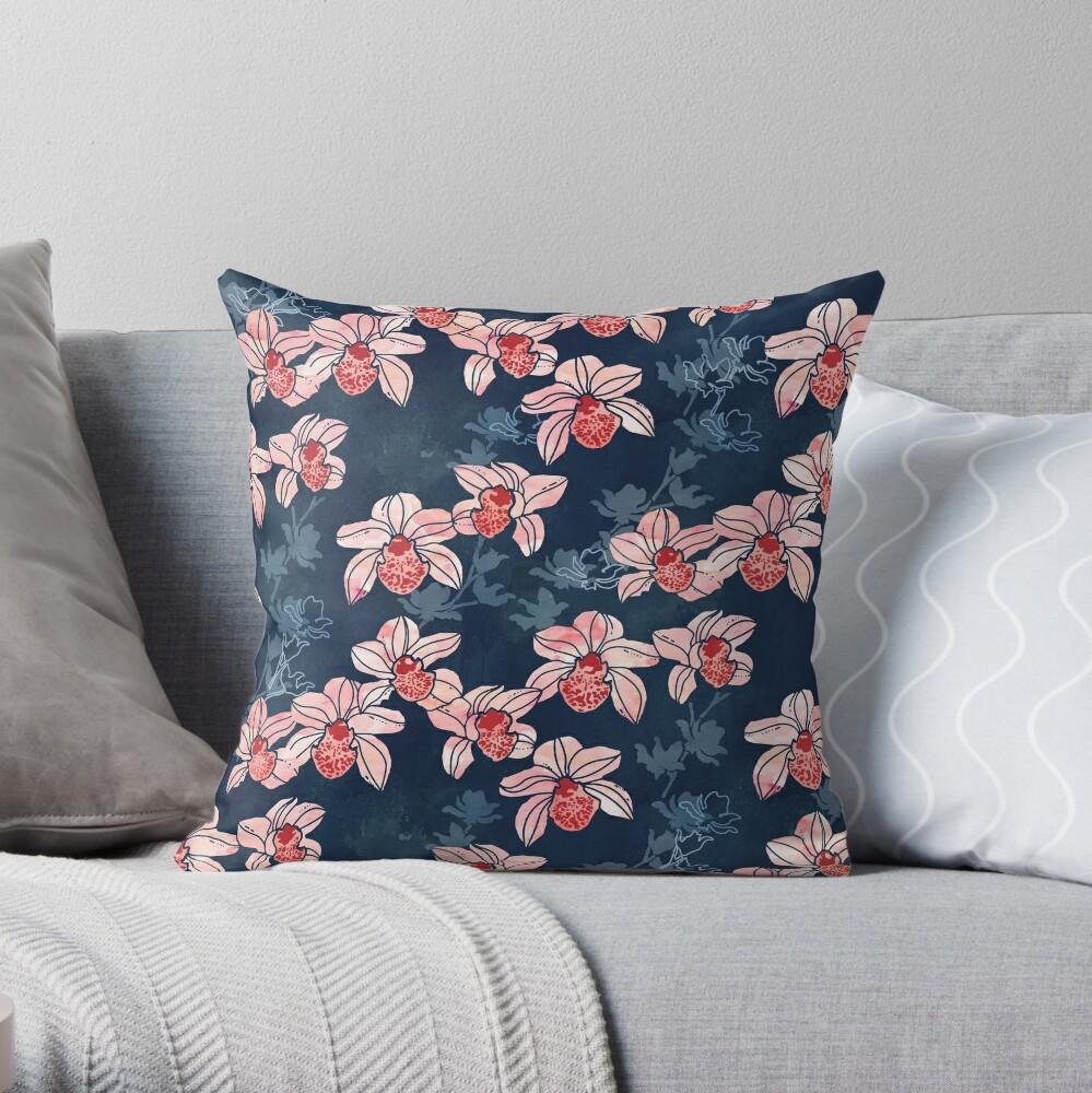 Orchid garden in peach on navy blue Throw Pillow