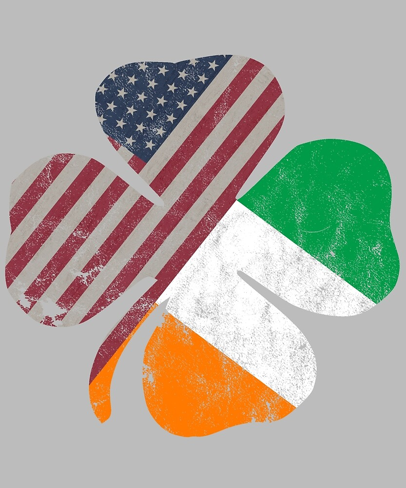 Irish American Flag in a shamrock for St.Patrick's Day by scrum-royal